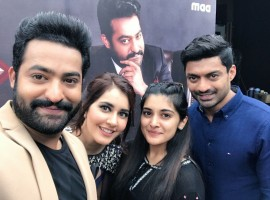 Raashi Khanna, Nivetha Thomas, Jr.Ntr promotes their upcoming movie Jai Lava Kusa Bigg Boss Telugu.