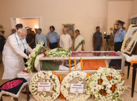Prime Minister Narendra Modi on Sunday evening visited the house of Marshal of Air Force Arjan Singh, who passed away on Saturday, to pay his tributes.