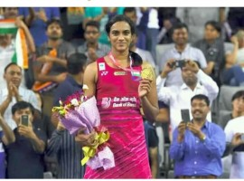 Indian star shuttler P.V. Sindhu overcame reigning world champion Nozomi Okuhara of Japan 22-20, 11-21, 21-18 in the women's singles final of the Korea Open Superseries here on Sunday. The Rio Olympic silver medallist Sindhu won in an hour and 24 minutes at the SK Handball Stadium. It was the 22-year-old's third Superseries title of her career. Okuhara had conquered the Hyderabadi in the World Championships final in August in Glasgow. After the August 27 win, the Rio Olympic bronze medallist Okuhara, 22, had taken a 4-3 lead in career meetings against Sindhu. But in this South Korean capital, Sindhu was presented a chance to avenge the Glasgow loss --and the Indian came out on top.