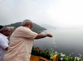 Prime Minister Narendra Modi inaugurated the ambitious 138 metre inter-state Sardar Sarovar Dam project on Narmada river on his 67th birthday on Sunday, linking it with his
