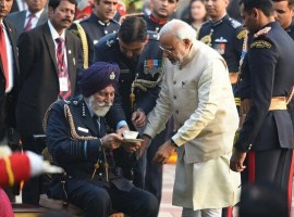 Prime Minister Narendra Modi on Sunday paid tribute to Marshal of the Air Force Arjan Singh, who passed away on Saturday at the age of 98.