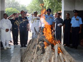 Hundreds of people including Defence Minister Nirmala Sitharaman and the three Service Chiefs, bid a tearful adieu to Marshal of the Indian Air Force (IAF) Arjan Singh at a state funeral at Brar Square here on Monday. Arjan Singh, who led the air operations in the 1965 war with Pakistan, died at the Army Research and Referral Hospital here on Saturday. He was admitted to the Intensive Care Unit after suffering a cardiac arrest. He was 98.