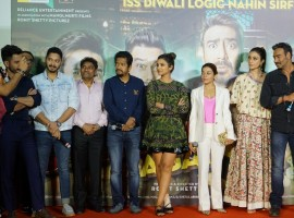 Actors Ajay Devgan, Parineeti Chopra, Johnny Lever, Arshad Warsi, Tusshar Kapoor, Kunal Khemu, Johnny Lever, Shreyas Talpade and Director Rohit Shetty during the trailer launch of their upcoming film