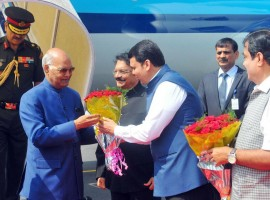 President Ram Nath Kovind arrived here on a day's visit to attend a series of events during his first visit to Maharashtra after assuming office two months ago. He was accorded a warm welcome at Dr. Babasaheb Ambedkar International Airport by Governor C. V. Rao, Chief Minister Devendra Fadnavis, Union Shipping Minister Nitin Gadkari, other elected leaders and senior officials. Shortly after his arrival, he left by road to pay homage at the historic Deekshabhoomi where the architect of the Indian constitution, Babasaheb Ambedkar, had embraced Buddhism along with 600,000 followers 60 years ago.