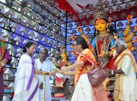 West Bengal Chief Minister Mamata Banerjee inaugurates Durga Puja Pandal.