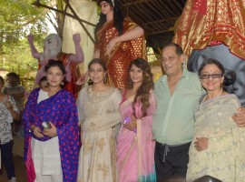 Sharbani Mukherjee, Kajol, Tanisha Mukherjee  Debu Mukherjee and Tanuja Mukherjee at North Bombay Sarbojanin Durga Puja Samiti 2017.
