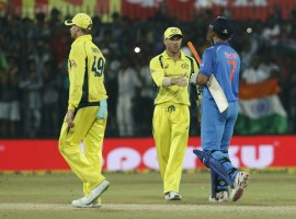India rode on a strong batting performance to defeat Australia by five wickets in the third One-Day International (ODI) and clinch the five-match series at the Holkar Stadium here on Sunday. Chasing a target of 294 runs, India crossed the line in 47.5 overs to take an unassailable 3-0 lead in the series. With this win, India skipper Virat Kohli equalled predecessor Mahendra Singh Dhoni's record run of nine ODI wins on the trot.  Dhoni's winning streak as captain stretched from February 2008 to January 2009. Kohli's winning run started on July 26 this year. Openers Rohit Sharma and Ajinkya Rahane gave India a fine start with a partnership of 139 runs. Rohit scored 71 runs off 62 balls. The Mumbai batsman was in fine form, smashing the ball four times into the stands and six times to the ropes. This was his 33rd half-century in ODI cricket. Rahane hit nine boundaries while scoring 70 runs off 76 balls.  Later, Hardik Pandya produced a power-packed knock lower down the order to carry the hosts to the cusp of victory. The Baroda all-rounder top scored for the hosts with 78 runs off 72 deliveries, hitting five boundaries and four sixes along the way.