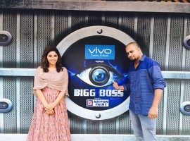 South Indian actress Anjali promotes Baloon movie on Bigg Boss Tamil sets.