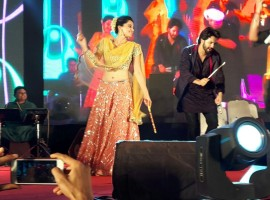 The team of 'Judwaa 2' visited Ahmedabad on Sunday night in order to celebrate the Navratri festival. Varun Dhawan along with Taapsee Pannu was seen enjoying Dandiya night in Ahmedabad, as the duo promoted their upcoming film 'Judwaa 2'. The Sajid Nadiadwala flick features Varun Dhawan in a double role. The comedy film directed by David Dhawan stars Jacqueline Fernandez and Taapsee Pannu along with Varun Dhawan.