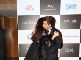Actor Shah Rukh Khan hugs Aishwarya Rai Bachchan at Vogue Women of the Year Awards 2017.