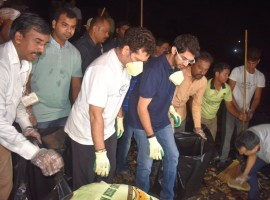 Cricket maestro Bharat Ratna Sachin Tendulkar and Yuva Sena chief Aditya Thackeray and others picked up brooms to sweep parts of Bandra here on Tuesday, earning praise directly from Prime Minister Narendra Modi. The move follows a recent appeal by Modi to prominent personalities urging them to take part in the renewed sanitation drive 'Swachhata Hi Seva', launched for a fortnight as part of the Swachh Bharat Abhiyan's third anniversary on October 2.