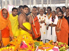 Bihar CM Nitish Kumar attends birth anniversary celebrations of Ramanuj Swami Maharaj in Arrah of Bihar's Bhojpur district.