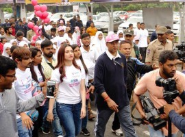 Actress Tamannaah Bhatia on Sunday participated in a walk organised here for breast cancer awareness. The actress along with Dharini, who fought breast cancer affecting both breasts at a young age of 24, flagged off the run in which about 3,000 people from various walks of life participated.