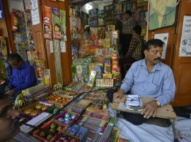 Crackers being sold at a Jama Masjid market in Delhi. The Supreme Court on 9th October ruled that there will be no sale of firecrackers during Diwali, as it restored a November 2016 order banning the sale and stocking of firecrackers in Delhi and National Capital Region.