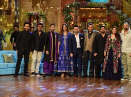 Actors Ajay Devgan, Tusshar Kapoor, Shreyas Talpade, Tabu, Kunal Khemu, Arshad Warsi, Parineeti Chopra and Director Rohit Shetty with Mithun Chakraborty during the promotion of upcoming film