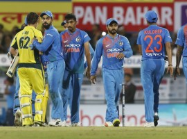 The 37,500-odd crowd at India's latest venue anticipated a run feast but were denied, thanks to a disciplined bowling effort from the tourists, who opted to bowl on winning the toss after a light drizzle. Chasing a paltry 119, Australia initially got a taste of their own medicine from India's new ball pair of Jasprit Bumrah and Bhuvneshwar Kumar to be reduced to 13/2. Skipper David Warner (2) was the first man to be dismissed off a short-pitched ball from Bumrah before Bhuvneshwar struck with the wicket of the in-form Aaron Finch (8), comfortably caught by captain Virat Kohli on both occasions. All-rounder Moises Henriques (62 not out) and Travis Head (48 not out) then started the repair work cautiously before launching an all-out attack on the Indians to eventually end up with a 109-run undefeated third wicket stand.