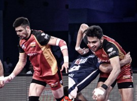 In the clash of bottom-placed teams, it was Bengaluru Bulls who came out on top as they beat Dabang Delhi 35-32 in the fifth Pro Kabaddi Season here on Wednesday. Rohit Kumar (12 points) and Ajay Kumar (10 points) led the Bengaluru Bulls charge as they combined to score 22 raid points. Rohit Balliyan scored 11 points but was let down by his team's defence as they scored just six tackle points.