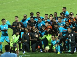 India thrashed Macau 4-1 to qualify for the 2019 Asian Cup football tournament here on Wednesday. Rowllin Borges (28th minute) put India ahead in the first half before Sunil Chhetri (60th) and Jeje Lalpekhlua (90+2) found the net after the break.