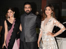 Raj Kundra arrives with Shamita and Shilpa Shetty spotted at Arpita Khan's Diwali party.