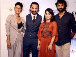 Aamir Khan who is busy in promoting his upcoming movie 'Secret Superstar' was spotted yesterday at a Film Festival in Mumbai. He was accompanied by his 'Secret Superstar' co-star Zaira Wasim at the red carpet. The Film Festival began yesterday where Aamir Khan came to support his wife Kiran Rao who is also the producer of 'Secret Superstar'  Zaira Wasim also arrived with Aamir Khan. Aamir Khan made a stylish entry in formals, he wore a blue waistcoat and trousers with a white shirt pairing it up with a brown tie he looked absolutely dapper. Zaira Wasim wore a beautiful red attire and looked gorgeous. Kiran Rao kept it super stylish as always. The team glammed up the red carpet at the most awaited Film Festival of the year. The Superstar, Zaira Wasim along with Kiran Rao and the Director Advait Chandan posed together on the red carpet.