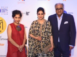 Boney Kapoor and Sridevi spotted at Jio Mami Film Festival 2017.