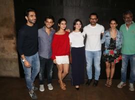 Aparshakti Khurana, Fatima Sana Shaikh, Zaira Wasim, Aamir Khan, Sanya Malhotra, Nitesh Tiwari at Secret Superstar special screening.