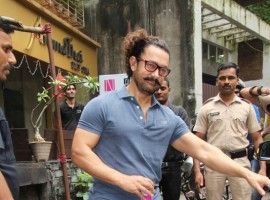 Actor Aamir Khan spotted at Thai Spa at Bandra.