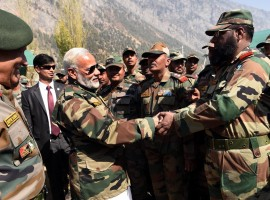 Prime Minister Narendra Modi on Thursday arrived in the border town of Gurez to celebrate Diwali with the soldiers protecting the country's borders.
