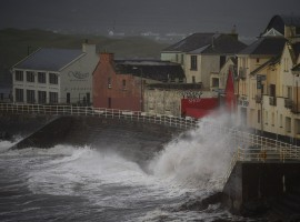 Winds batter the coast as storm Ophelia hits the County Clare town of Lahinch.