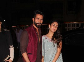 Actor Shahid Kapoor and Mira Rajput celebrate Diwali at Masaba Gupta's House in Mumbai.