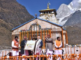 Prime Minister Narendra Modi on Friday visited the Himalayan shrine of Kedarnath ahead of its closure for the next six months. This is his second visit to the shrine this year. Modi was accompanied by Uttarakhand Chief Minister Trivendra Singh Rawat and other state and central government officials. The priests at the Lord Shiva shrine and the locals welcomed the Prime Minister. The temple was decked up with yellow flowers.
