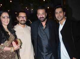 Sanjay Dutt, Manyata Dutt and Varun Dhawan spotted at Aamir Khan's Diwali Party.
