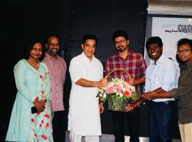 South Indian actor Kamal Haasan watches Mersal movie with Vijay and Atlee.