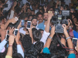 Golmaal Again team mobbed by a huge crowd Outside Gaiety Galaxy.
