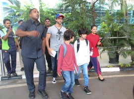 Hrithik Roshan and their sons Hrehaan and Hridhaan returns to Mumbai after Goa vacation.