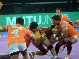 Pune will now face the winner of the second Eliminator between Haryana Steelers and Patna Pirates in the third Eliminator on Tuesday. Girish Ernak was rock solid at the back and scored seven tackle points whereas Deepak Niwas Hooda scored 10 raid points to lead their team to victory. UP Yoddha squandered a solid start 5-0 lead and despite Rishank Devadiga's 15 point effort, their campaign came to an end. The UP side were let down by their defence as they could score just eight tackle points whereas Pune's defence scored 17 tackle points. UP made a strong start as Nitin Tomar and Rishank scored raid points to give their team a 5-0 lead after three minutes.