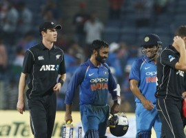 A good batting display helped India beat New Zealand by six wickets in the second One Day International at the Maharashtra Cricket Association Stadium here on Wednesday. With this result, India equalised the three match ODI series. In the first match, India were defeated by the visitors by six wickets in Mumbai. India's Shikhar Dhawan (68), Dinesh Karthik (64 not out) scored handsomely for the cause. It was a bad start for India as opener Rohit Sharma (7) departed with just 22 runs on the board. The right-hand batsman was dismissed by pacer Tim Southee in the fifth over. But Dhawan and skipper Virat Kohli (29) then forged a 58-run second wicket partnership before in-form Kohli was dismissed by Colin de Grandhomme in the 14th over. Kohli slammed three fours and one six in his 29 ball innings.