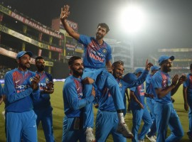Veteran pacer Ashish Nehra could not have asked for a better send-off as India thrashed New Zealand by 53 runs at the Ferozshah Kotla here on Wednesday to bring up their maiden win against the Kiwis in T20 Internationals. India's opening duo of Shikhar Dhawan (80 from 52 balls) and Rohit Sharma (80 from 55 balls) blasted identical half tons to set the tone with a 158-run record opening stand and guide the hosts post a massive 202/3.