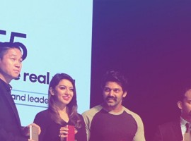 Actor Arya and Hansika Motwani launches Oppo F5 in Kochi.