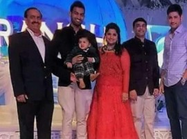 Mahesh Babu and Namrata at producer Dil Raju's grandson Aransh's 1st B'day function.