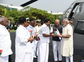 CM Edappadi K Palaniswami welcomes PM Narendra Modi  on his arrival at Chennai.