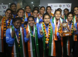 Indian women's hockey team arrive at T3 Airport in New Delhi on Nov 6, 2017. India beat China to win women's Asia Cup hockey title, qualify for Hockey World Cup.