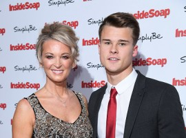 Gillian Taylforth and Harrison Taylforth-Knights attend the Inside Soap Awards at The Hippodrome on November 6, 2017 in London, England.