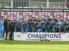 The three-match series was locked 1-1 after the hosts won the opening match in Delhi while New Zealand clinched the second encounter in Rajkot. With heavy rain lashing the city, the start of the third T20I was delayed by a couple of hours and the match was reduced to an eight overs a side affair. Having restricted the hosts to 67/5 after winning the toss, the New Zealand batsmen struggled right from the start and could only manage 61/6 in their eight overs.