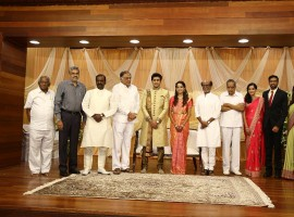 AVM Saravanan Grand Daughter Aparna Wedding Reception held in Chennai.