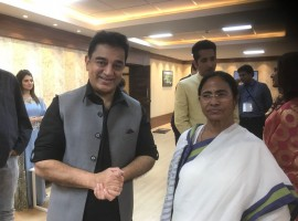 Kamal Haasan meets West Bengal Chief Minister Mamata Banerjee at Kolkatta.