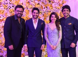 Venkatesh spotted at Samantha - Naga Chaitanya's Wedding Reception.