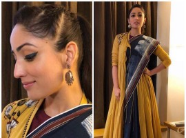 Yami Gautam is one actress who is fearless of experimenting with new looks and this time she is seen in a never before look as she dresses up in a saree. Yami Gautam mesmerized us, wearing an Anju Modi creation styled by Tanya Ghavri. With makeup by Shraddha Naik, Yami looked very pretty in the minimal makeup, focusing on the eyes. With a simple yet trendy hairdo by Ayesha Devitre, Yami Gautam looks amazingly in the crisp ponytail.