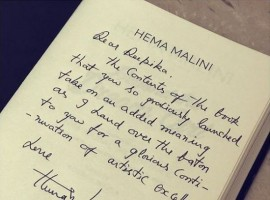 Deepika recently launched the biography at an event where Hema Ji spoke wonderful things about the actress. As a token of appreciation, Hema Ji presented the very first copy of her biography to Deepika with a heartful handwritten message which reads,