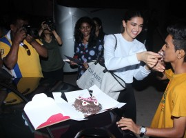 Actress Deepika Padukone celebrates 10 Years completion in Bollywood Film Industry with her fan at Mehboob studio.